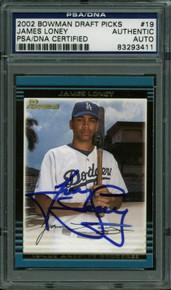 Dodgers James Loney Authentic Signed Card 2002 Bowman Draft Picks PSA Slabbed