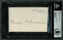 Francis Cleveland Authentic Signed 2.75x4.25 White House Card BAS Slabbed