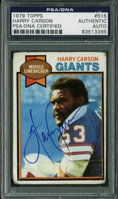 Giants Harry Carson Authentic Signed Card 1979 Topps #515 PSA/DNA Slabbed