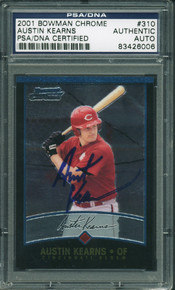 Reds Austin Kearns Authentic Signed Card 2001 Bowman Chrome Rc #310 PSA Slabbed