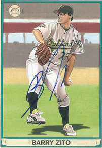 Athletics Barry Zito Authentic Signed Card 2003 Upper Deck Play Ball #50 w/ COA