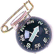 Silva Fisheye Pin-On Compass - Type 28 with safety pin.