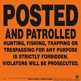 Posted and Patrolled Posted Signs - Orange Aluminum