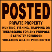 108VPOA - Posted Private Property - Orange Aluminum - Posted Sign
