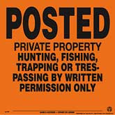Posted Written Permission Only Posted Signs - Orange Aluminum