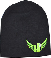 Beanie - Neon Green with Light Grey 9