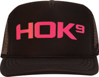 Youth Trucker Hat - All Black with Hot Pink HOK9