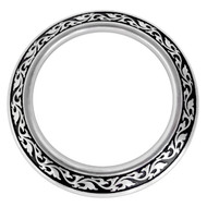 Jeremiah Watt Horse Shoe Brand Hardware Engraved Breast Collar Ring Black Inlay
