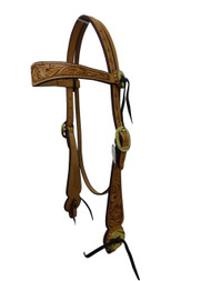 Billy Cook Saddlery Western Browband Headstall Floral Tooled Leather