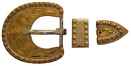 Hansen Western Gear Yuma Berry Brass 3 Piece Buckle Set