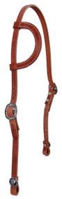 West Coast Tack Basic One Ear Stitched Hermann Oak Natural Harness Leather Headstall