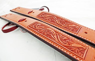 Pair of chestnut oiled floral billet straps