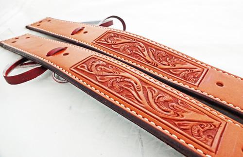 Pair of chestnut oiled floral billet straps