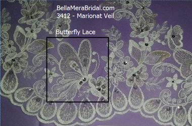 Marionat Bridal Veils 3412- Beaded Lace Butterfly Veil- The Bridal Veil Company
