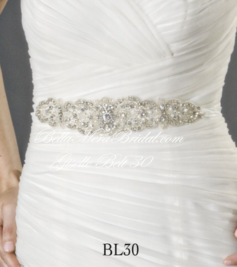 Giselle Bridal Belt BL30 - Beaded Belt with Organza Ties