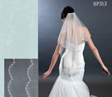 Giselle Bridal Veil Style SP313- Floral Design Veil - Circle Cut Veil