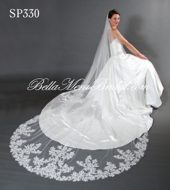 """Giselle Bridal Veil Style SP330 - 120"""" Lace Edge Cathedral Veil - Circle Cut"""