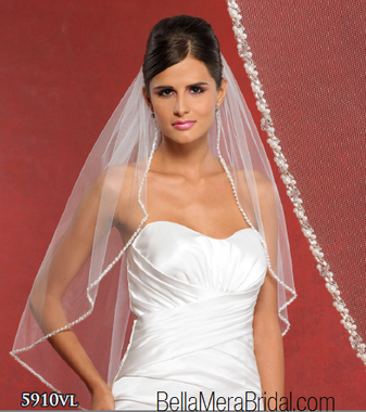 Symphony Bridal Style 5910VL - Beaded Veil- Fast Ship - White