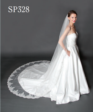 """Giselle Bridal Veil Style SP328 - 120"""" Lace Edge Cathedral Veil w/Sequins"""