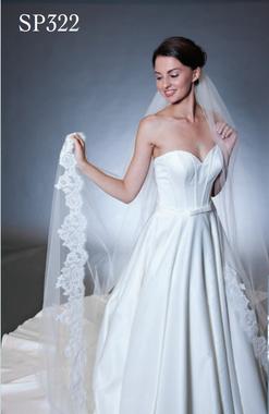 """Giselle Bridal Veil Style SP322 - 120"""" Alencon Lace Edge - 7"""" Eyelash Unbeaded"""