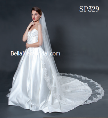 """Giselle Bridal Veil Style SP329 - 120"""" Inches Long - Floral Beaded Lace"""
