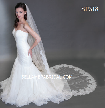 "Giselle Bridal Veil Style SP318 - 108"" Inches Long - 8"" Unbeaded French Lace w/Rolled Edge 34"""