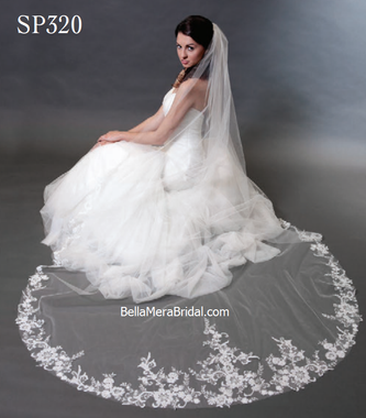 "Giselle Bridal Veil Style SP320 - 108""x 72"" - Beaded Floral Design Lace Edge"
