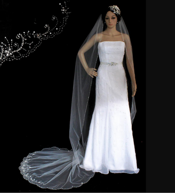 Scallop Cathedral Veil with Beads, Bugles and Sequins - 108x72 - Style 3128C
