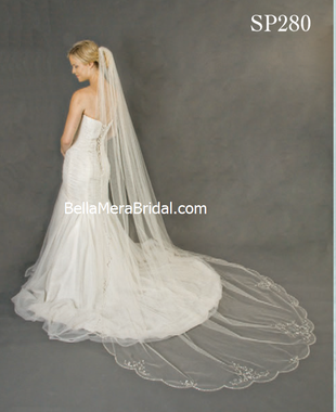 "Giselle Bridal Veil Style SP280 - 108x108 - Silver Beaded Floral Design, Scallop Edge along bottom. Beaded 42"" along top"