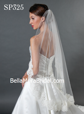 "Giselle Bridal Veil Style SP325 - 4.5"" Alencon Lace - 21"" Rolled Edge Upper"