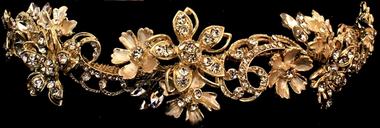 Rhinestone Flower Tiara with Crystal Swirls - 4293