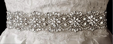 Rhinestone Belt with Pearl Accents on Satin Ribbon - 70 Inches Length