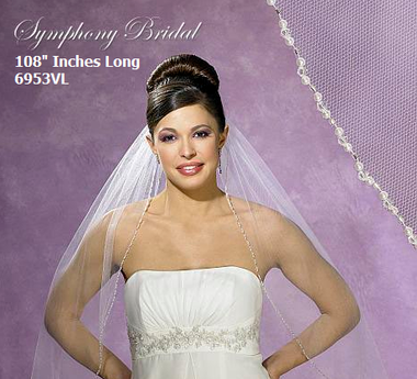 Symphony Bridal Cathedral Veil - Style 6953VL - Pearl and Beaded Edge - 108 inches
