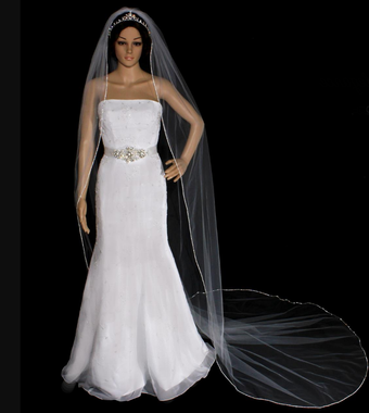 Noelle & Ava Collection - 108 X 72 - Swarovksi Rhinestone Edge Cathedral Veil