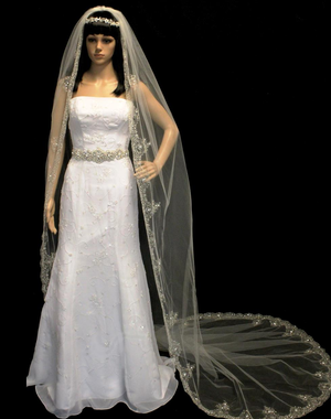 Gold Embroidered Cathedral Wedding Veil with Rhinestones, Pearls & Bugles