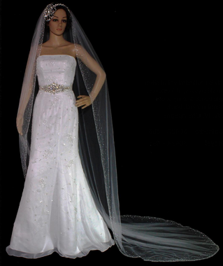 Swarovksi Scattered Rhinestone Edge Cathedral Veil - Silver Bugles and Seed Beads -  120x72