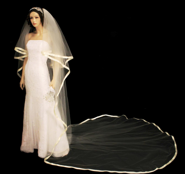 130 Inches Long - Cascade Cut Ribbon Edge Two Tier Cathedral Veil