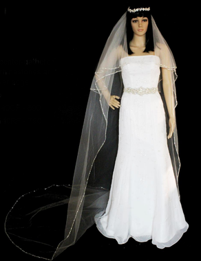 108 inches - Beaded Silver Edge Two Tier Circular & Fold Over Veil