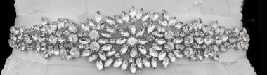 Noella & Ava Collection - Marquise Rhinestone Sash Belt with round and pear stones - 03