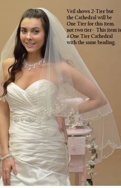 Ansonia Bridal Veil Style 640 - One Tier Cathedral with Scalloped Beaded Edge