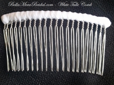 BellaMeraBridal.com - White Tulle Wrapped Comb