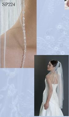 "Giselle Bridal Veil Style SP224 - 42""x72"" - Crystal & Seed Beads"