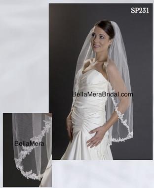 Giselle Bridal Veil Style SP231 -1 Tier w/Alencon Lace