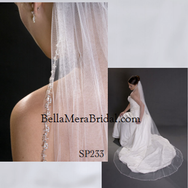 "Giselle Bridal Veil Style SP233 -108"" Beaded Cathedral"