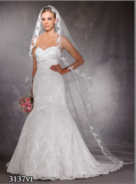 Symphony Bridal Veil Style 3137VL - Cathedral Lace Edge