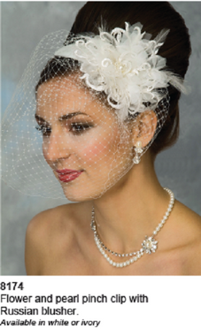 Ansonia Bridal Veils Style 8174- Flower with Pearl Clip Russian Blusher