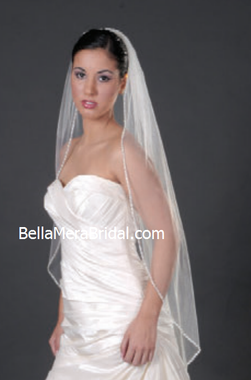 - Giselle Bridal Veil Style SP198 - Crystals, silver bugle and seed beads