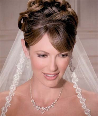 Bel Aire Bridal Wedding Veil V8579 - One Tier Elbow Beaded Trim Edge