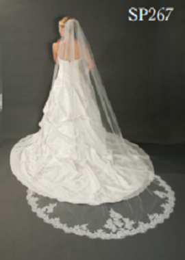 """Giselle Bridal Veil Style SP267 -108"""" Lace Cathedral Veil - Rolled Edge with Lace"""