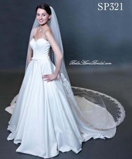 "Giselle Bridal Veil Style SP321 - 120"" Beaded Alencon 5"" Lace Edge - Rolled Edge 34"""